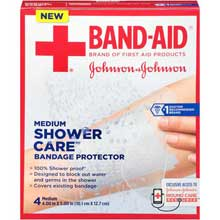 Johnson and Johnson Band-Aid Brand of First Aid Products Shower Care Medium Bandage Protector 4 count