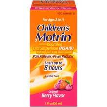 Childrens Motrin Original Berry Flavor Pain Reliever Fever Reducer Oral Suspension, 100mg Ibuprofen 1 fl. oz. Box
