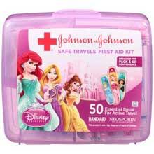 Johnson and Johnson Disney Princess Safe Travels First Aid Kit 50 Piece