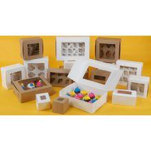 Windowed Kraft Lock Corner One Piece Cupcake Box 8 x 4 x 4 inch