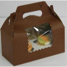 Windowed Chocolate Lock Corner One Piece Cupcake Box 12 inch