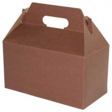 Chocolate Pinstripe Gable Boxes with Auto Bottom 6 inch