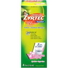 Childrens Zyrtec Allergy Bubble Gum Syrup 4 fl. oz. Box