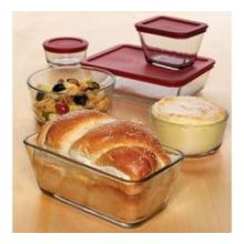 Kitchen Storage Container Set with Red Plastic Lids
