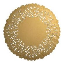 Round Silver and Gold Foil Lace Doily