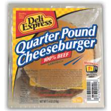 Deli Express 100 Percent Beef Cheeseburger Sandwich 7.4 Ounce