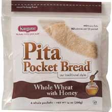 Kangaroo Whole Wheat Honey Pita Pocket Bread 10 Ounce