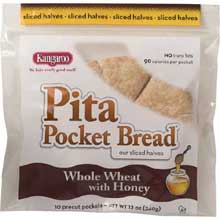 Kangaroo Whole Wheat Honey Pita Pocket Bread 12 Ounce