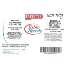 Michael Foods Papettis Round Egg Patty 1 Ounce