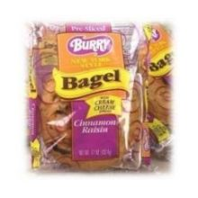 Burry Foodservice Thaw and Sell Sliced Cinnamon Raisin Bagel 4.67 Ounce