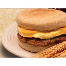 Turkey Sausage Cheese and Egg on English Muffin