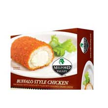 Raw Breaded White Chicken Patty Filled with Seasoned Cream Cheese