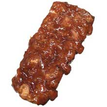 Fully Cooked Flamebroiled Boneless Rib Shaped Pork Patties with Sauce