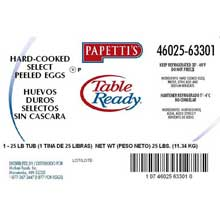 Michael Foods Papettis Table Ready Hard Cooked Eggs 25 Pound