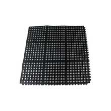 Update International Black Interlocking Anti Fatigue Black Rubber Floor Mat 3 x 3 feet