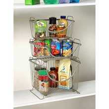 Ashley Satin Nickel PC Small Stackable Basket