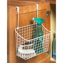 White Over the Cabinet Large Grid Basket