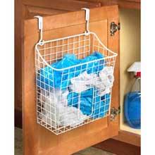 Grid White Over the Cabinet Trash Bag Holder