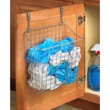 Grid Satin Nickel PC Over the Cabinet Trash Bag Holder