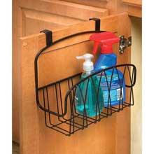 Black Twist Over the Cabinet Door Medium Basket