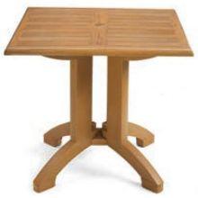 Grosfillex Winston Molded Melamine Teak Decor Square Pedestal Table 32 inch