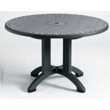 Round Synthetic Metal Finish Pedestal Table