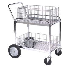 Wesco Deluxe Compact Wire Office Cart - 33.5 x 23.75 x 38.25 inch Overall Size