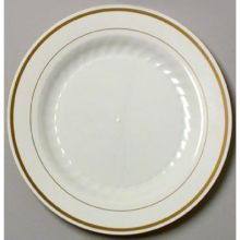 Comet Masterpiece Ivory Printed Gold Premiere Trim Plastic Plate at ...