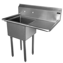 SSP Inc Stainless Steel Standard Series 1 Compartment NSF Sink with Right Drainboard - 14 inch Deep 36.5 x 25.5 x 43.75 inch