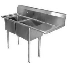 SSP Inc Stainless Steel Standard Series 2 Compartment NSF Sink with Right Drainboard - 14 inch Deep 54.5 x 25.5 x 43.75 inch