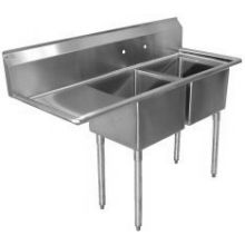 SSP Inc Stainless Steel E Series 2 Compartment NSF Sink with Left Drainboard - 12 Inch Deep 54.5 x 25.5 x 43.75 inch