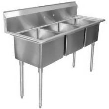 SSP Inc Stainless Steel E Series 3 Compartment NSF Sink - 12 Inch Deep 57 x 25.5 x 43.75 inch