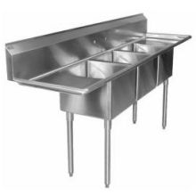SSP Inc Stainless Steel Standard Series 3 Compartment NSF Sink - 14 inch Deep 104 x 25.5 x 43.75 inch