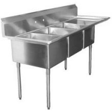 SSP Inc Stainless Steel Standard Series 3 Compartment NSF Deli Sink with Right Drainboard - 10 inch Deep 19.5 x 48.5 inch