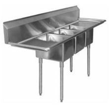 SSP Inc Stainless Steel Standard Series 3 Compartment NSF Deli Sink - 10 inch Deep 19.5 x 58 inch