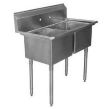 SSP Inc Stainless Steel Standard Series 2 Compartment Budget Sink - 12 inch Deep 39 x 24.5 x 42 inch