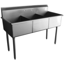 SSP Inc Stainless Steel Standard Series 3 Compartment Budget Sink - 12 inch Deep 39 x 24.5 x 42 inch