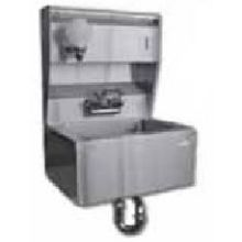 SSP Inc Stainless Steel Economy NSF Hand Sink with Soap and Towel Dispenser - 5 inch Deep 18 x 14.5 inch
