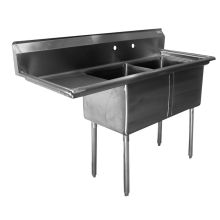 SSP Inc Stainless Steel SE Series 2 Compartment NSF Sink with Left Drainboard - 11 Inch Deep 24 x 56.5 inch
