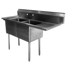 SSP Inc Stainless Steel SE Series 2 Compartment NSF Sink with 2 Drainboard 11 Inch Deep 24 x 72 inch