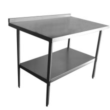 Backsplash Galvanized Undershelf NSF Work Tables - 36 x 48 stainless steel table