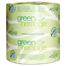 Atlas Paper Mills Green Heritage Toilet Tissue 4 1/2 x 3 4/5 Sheets 1-Ply 1000/Roll 96 Roll/CT