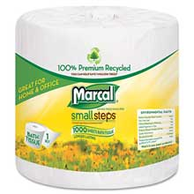 Marcal Small Steps 100% Recycled 1-Ply Bath Tissue 1000 Sheets/Roll 40 Rolls/Carton