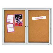 Quartet Enclosed Cork Bulletin Board Cork/Fiberboard 48 inch x 36 inch Silver Aluminum Frame