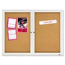 Quartet Enclosed Bulletin Board Natural Cork/Fiberboard 48 x 36 Silver Aluminum Frame