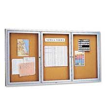 Quartet Enclosed Bulletin Board Natural Cork/Fiberboard 72 x 36 Silver Aluminum Frame