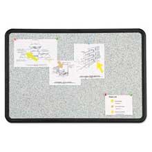 Quartet Contour Granite Gray Tack Board 36 x 24 Black Frame