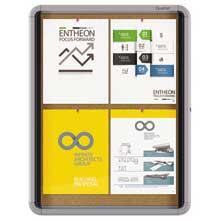 Quartet Enclosed Cork Bulletin Board w/Swing Door 21 x 27 Silver Aluminum Frame