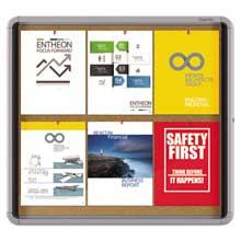 Quartet Enclosed Cork Bulletin Board w/Swing Door 30 x 27 Silver Aluminum Frame