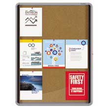 Quartet Enclosed Cork Bulletin Board w/Swing Door 30 x 39 Silver Aluminum Frame